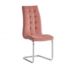 Jídelní židle, růžová Velvet látka / chrom, SALOMA NEW