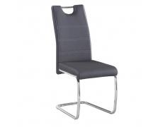 Jídelní židle, ekokůže tmavě šedá, světlé šití / chrom, ABIRA NEW
