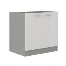Skříňka dolní, bílá extra vysoký lesk/šedá, PRADO 80 D 2F BB