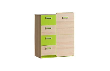 Komoda, 1 dveřová se 4 zásuvkami, jasan / zelená, EGO L6