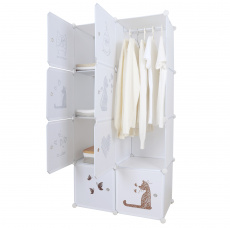 Dětská modulární skříň, bílá / hnědý vzor, KIRBY
