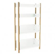 4-poličkový regál, přírodní bambus/bílá, BALTIKA TYP 3