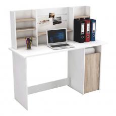 PC stůl, dub brushed / bílá, AMBRE