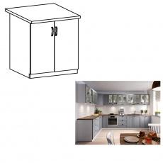 Spodní skříňka dvoudveřová, šedá matná / bílá, LAYLA D60