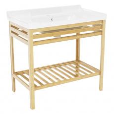 Stůl s keramickým umyvadlem, přírodní / bílá, SELENE TYP 6