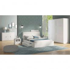 Ložnicová sestava (skříň / postel / 2ks noční stolek), bílá, RAMIAK