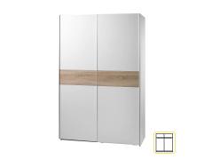Dvoudveřová skříň, s posuvnými dveřmi, bílá / dub sonoma, VICTOR 1