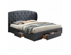 Manželská postel, látka / šedá, 180x200, OLINA