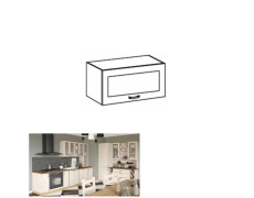 Horní skříňka se sklem, bílá / sosna skandinávská, ROYAL G60KSN