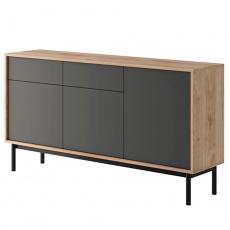 Kombinovaná komoda, dub jaskson hickory/grafit, BERGEN BK154