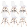 Set 6 barových židlí, bílá/buk, CARBRY 2 NEW