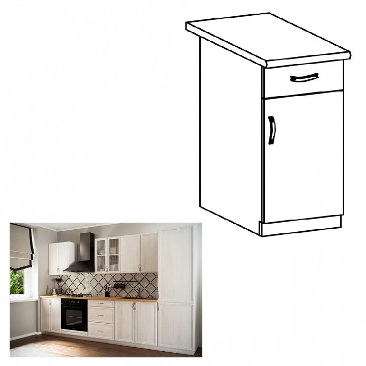 Spodní skříňka D40S1 se šuplíkem, pravá, bíla/sosna Andersen, SICILIA
