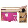 Postel s PC stolem, borovicové dřevo / růžová, 90x200 cm, ALZENA