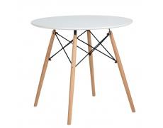 Jídelní stůl, bílá matná/buk, DEMIN