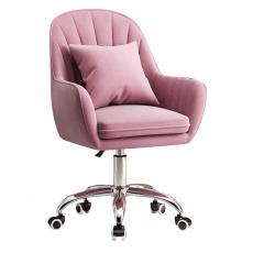 Kancelářské křeslo, růžová Velvet látka / chrom, KLIAN