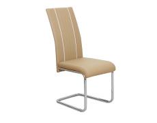 Jídelní židle, ekokůže béžová / bílá / chrom, LESANA