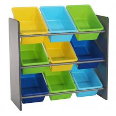 Organizér na hračky, vícebarevná / šedá, KIDO TYP 3