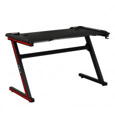 Herní stůl / počítačový stůl, s RGB LED osvětlením, černá / červená, MACKENZIE 120cm
