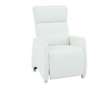 Relaxační křeslo, textilní kůže bílá, FOREST