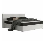 Komfortní postel, černá látka / bílá ekokůže, 160x200, NOVARA KOMFORT