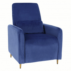 Relaxační polohovací křeslo, modrá látka, NAURO