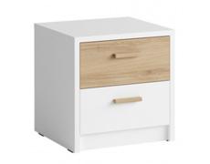 Noční stolek (2 ks), bílá/dub divoký, SIMPLA