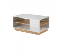 Konferenční stolek, bílá / dub grandson, CITY