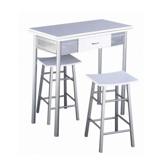 Barový set, stůl + 2 židle, bílá / stříbrná, HOMER