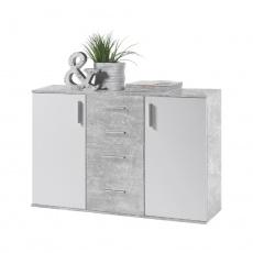 Komoda, bílá / beton, POPPY 5