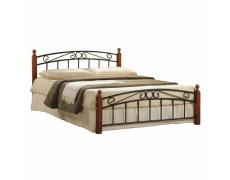 Manželská postel, třešeň / černý kov, 180x200, DOLORES