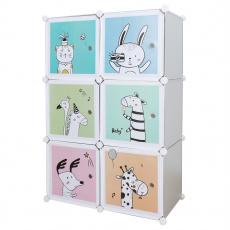Dětská modulární skříň, šedá / dětský vzor, BIARO