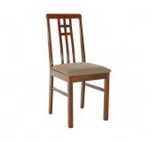 Židle, tmavý dub /látka šedobéžová, SILAS