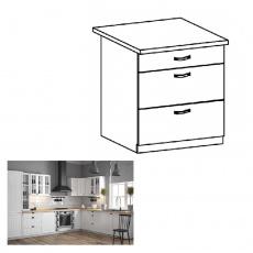 Spodní skříňka se třemi šuplíky D80S3, bílá / sosna andersen, PROVANCE