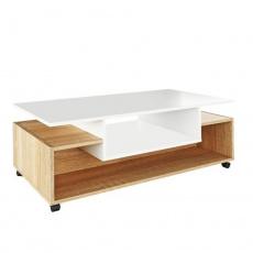 Konferenční stolek na kolečkách, bílá / dub sonoma, DALEN