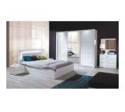 Ložnicový komplet (skříň+postel 160x200+2 x noční stolek), bílá / vysoký bílý lesk HG, ASIENA