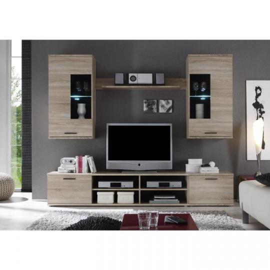 Obývací stěna, dub sonoma, FRONTAL 2