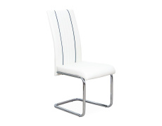 Jídelní židle, ekokůže bílá / černá / chrom, LESANA
