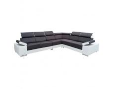 Rohová sedací souprava, bílá / černá, levá, Marbela 2+3