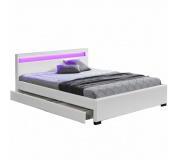 Manželská postel s úložným prostorem, RGB LED osvětlení, bílá ekokůže, 180x200, CLARETA
