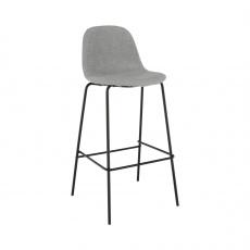 Barová židle, světlešedá látka / kov, MARIOLA NEW