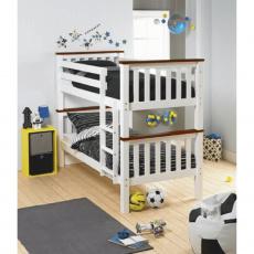 Dvoupatrová rozložitelná postel, bílá / hnědá, ROWAN NEW