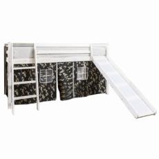 Dětská postel se skluzavkou, borovicové dřevo bílá, VERDI