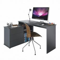 Univerzální rohový PC stůl, grafit, TERINO