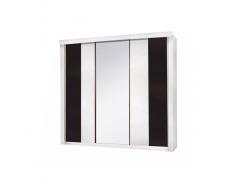 3-dveřová skříň, bílá / černá, RUBLIN
