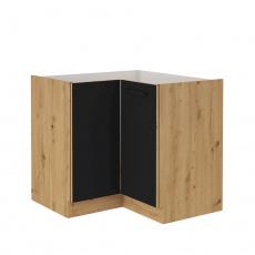 Spodní rohová skříňka, černý mat / dub artisan, Monro 90/90 DN 1F BB