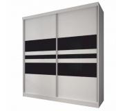 Skříň s posuvnými dveřmi, bílá / černé sklo, 183x218, MULTI 11