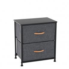 Komoda / noční stolek s látkovými šuplíky, černá / tmavě šedá, PALMERA TYP 1