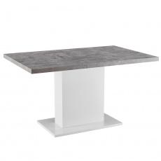 Jídelní stůl, beton / bílá extra vysoký lesk, KAZMA