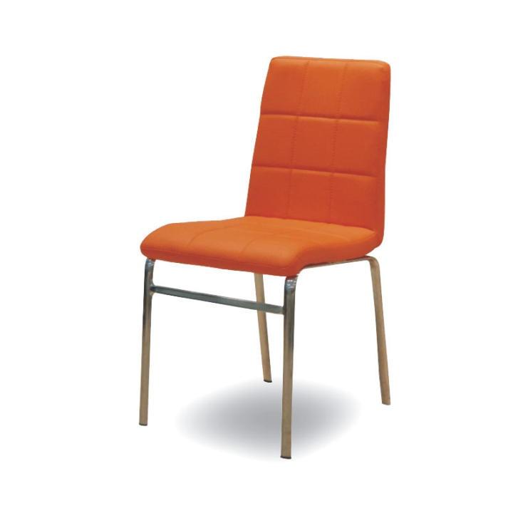 Chromová židle, chrom/ekokůže oranžová, DOROTY NEW