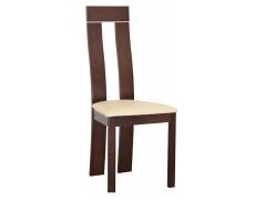 Dřevěná židle, ořech / ekokůže béžová, DESI